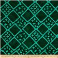Indian Batiks Diamond Grid Green