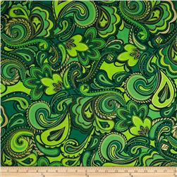 Kanvas Deck the Halls Metallic Holiday Paisley Green/Gold