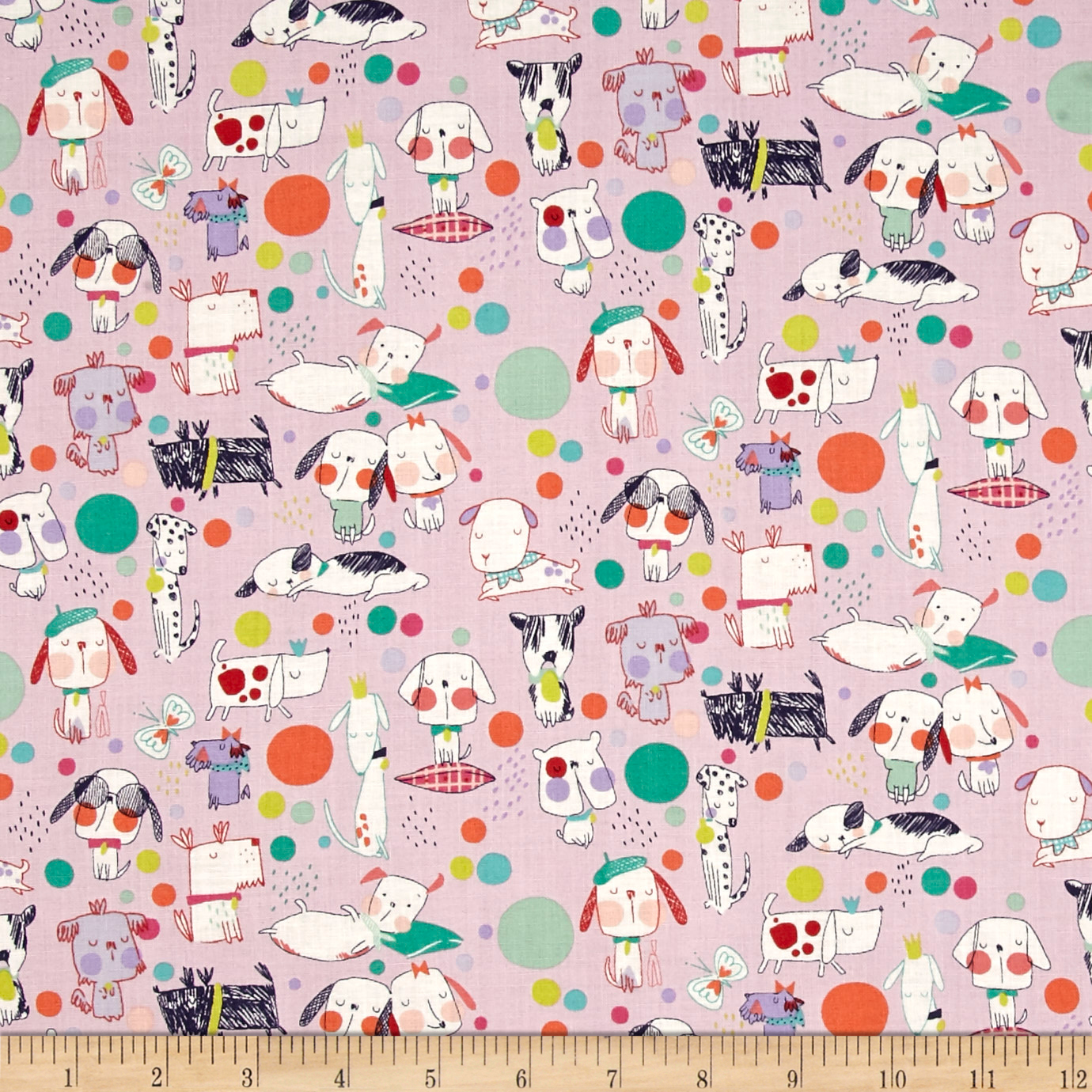 Alexander Henry Monkey's Bizness Puppy Polka Dot Berry Fabric