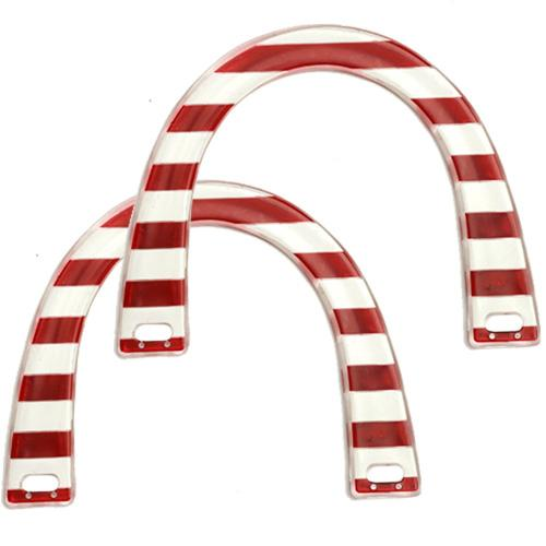 Red/White Plastic Novelty Purse Handle 5-3/4
