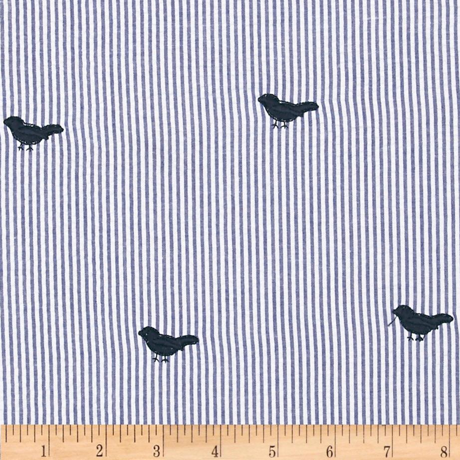 Embroidered Seersucker Navy/White Bird Dark Blue