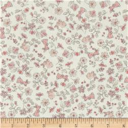 Timeless Treasures Flannel Doe, A Deer Bunny Floral Cream