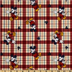 Disney Mickey Vintage Mickey On Woven Plaid Red