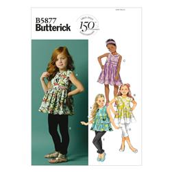 Butterick Children's/Girls' Top, Tunic Dress, Belt and Leggings Pattern B5877 Size CDD