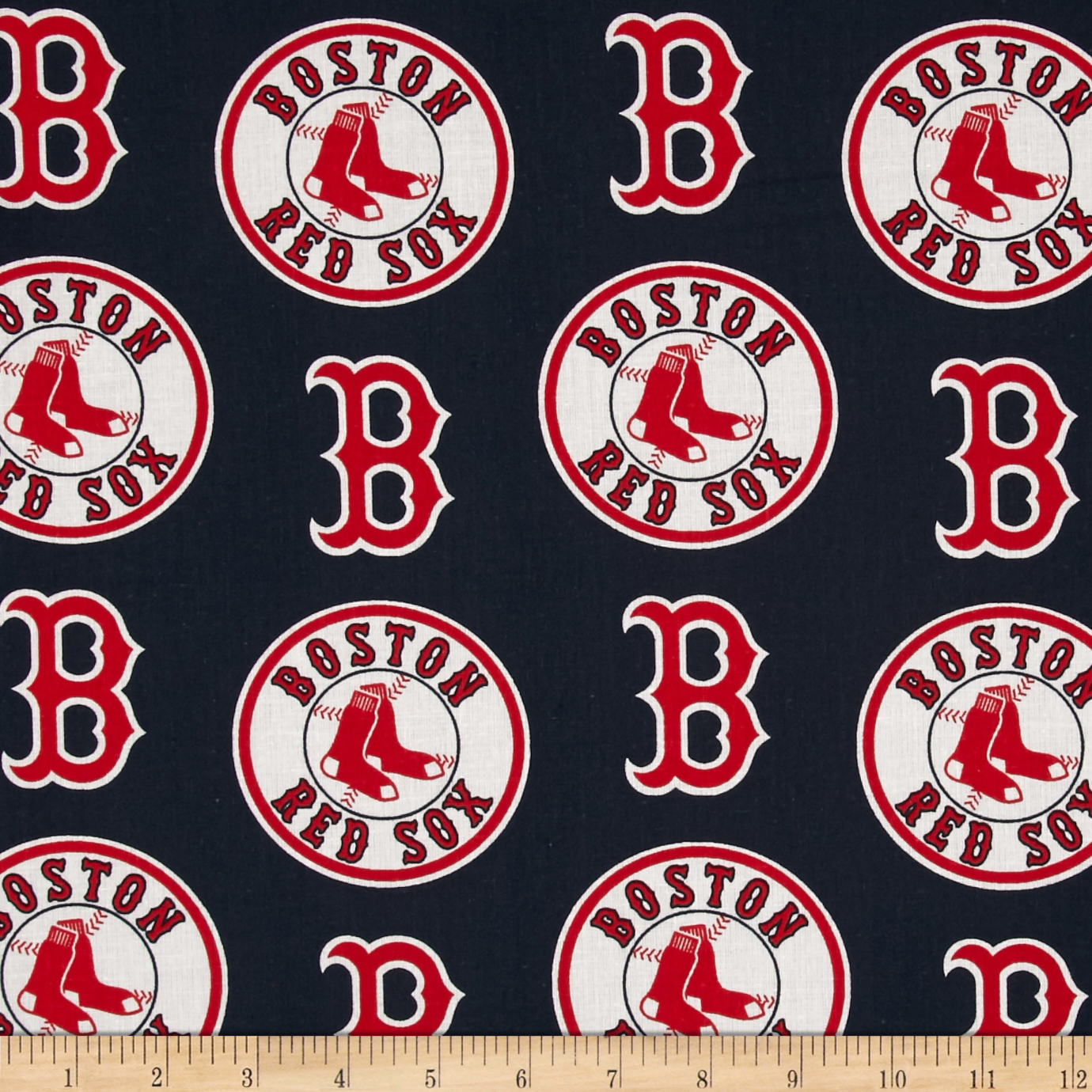 MLB Cotton Broadcloth Boston Red Sox Red/Navy Fabric by Fabric Traditions in USA