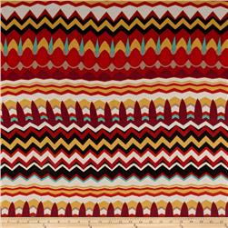 Rayon Spandex Knit Chevron Burgundy/Teal/Red