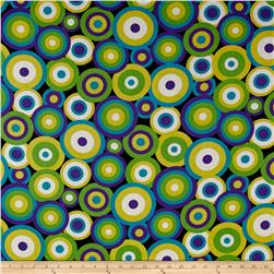 French Designer Cotton Voile Circles Green/Purple/Blue/Yellow