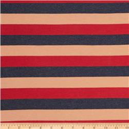 Designer Stretch Rayon Jersey Knit Striped Red/Orange/Navy