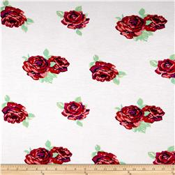 French Terry Knit Red Roses on White