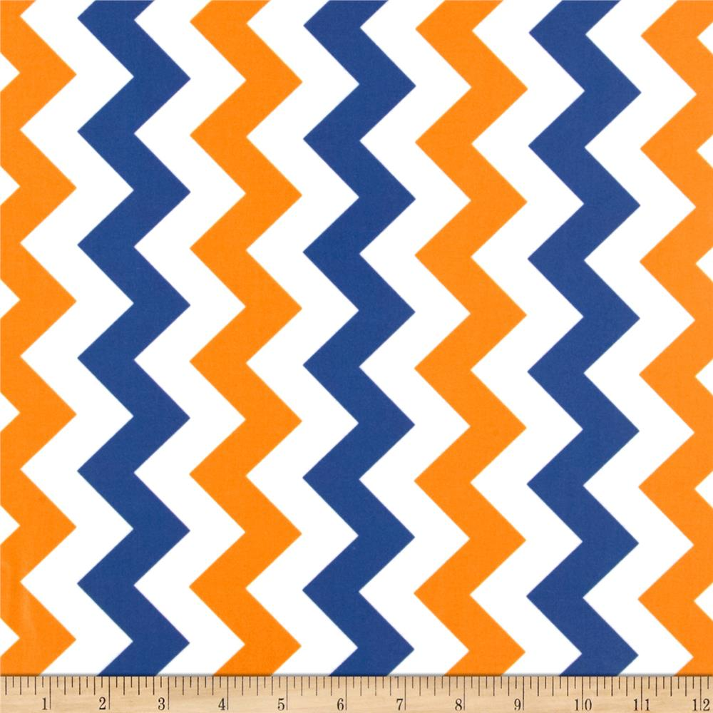 Riley Blake Laminate Medium Chevron Orange/Blue