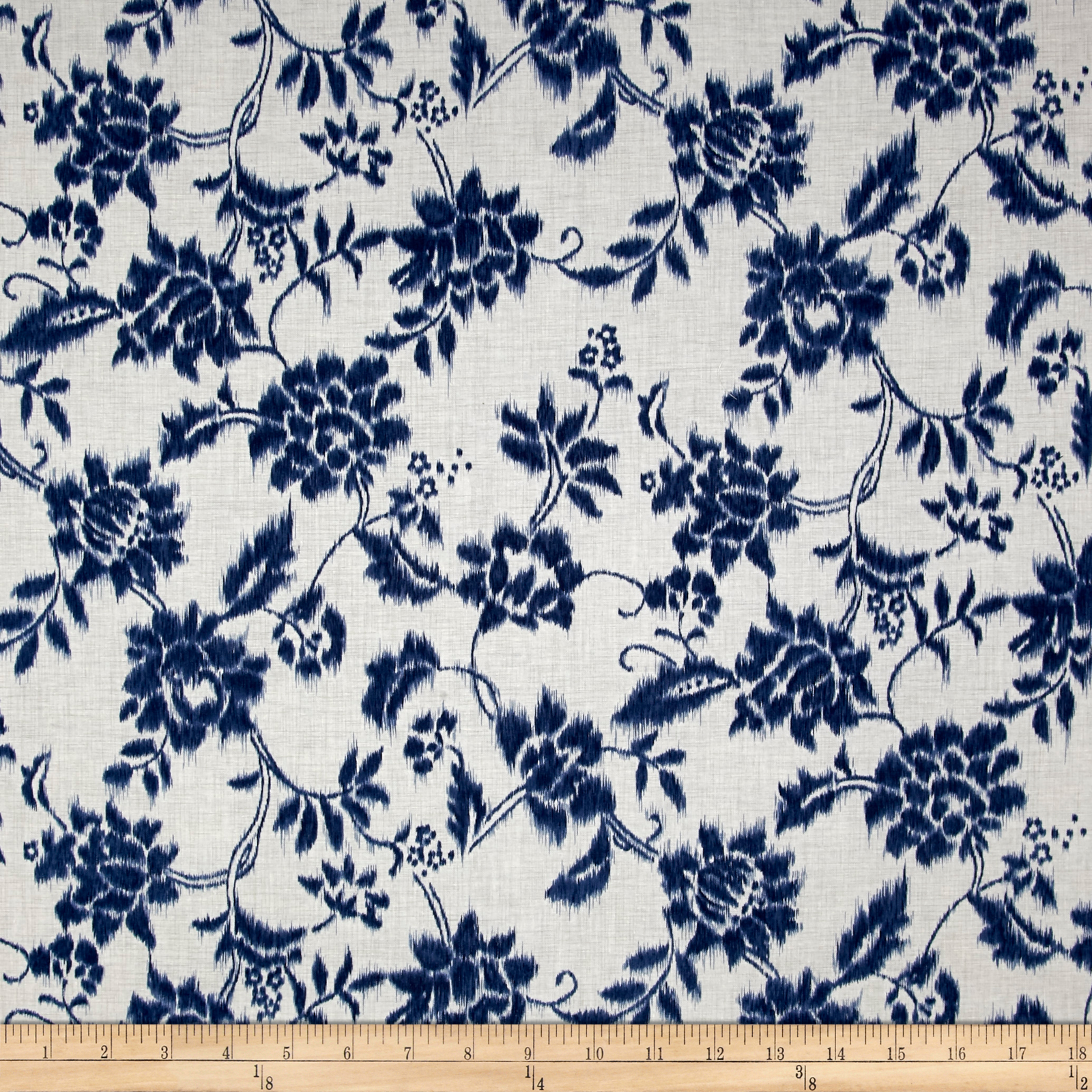 Indigo Summer Graphic Floral Cream Fabric by Hoffman of California in USA