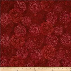 Bali Batiks Handpaints Chrysanthemums Red Velvet