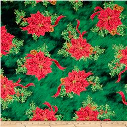 Joy To The World Metallic Poinsettia Toss Forest