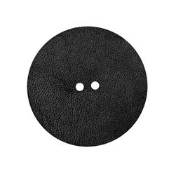 2'' Leather Button Round Black