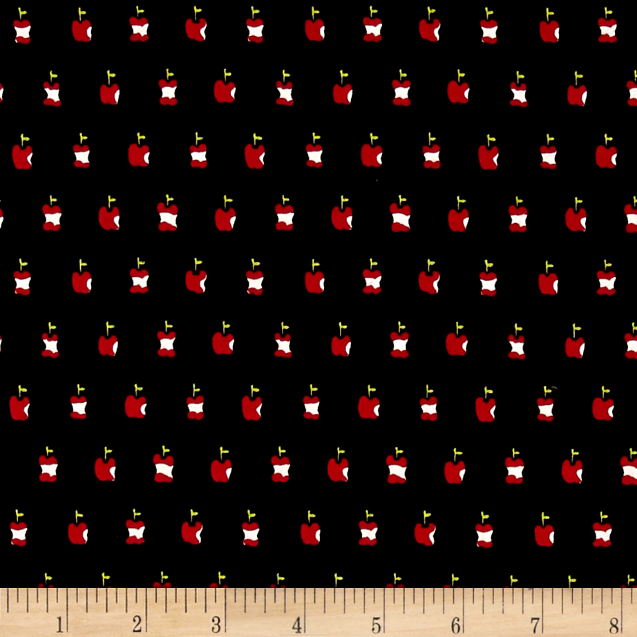 Alexander Henry In the Kitchen Apple a Day Black Fabric by Alexander Henry in USA