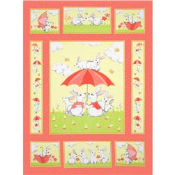 Bert & Beatrice Bunny Panel Coral/Green/Yellow