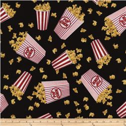Timless Treasures Movies Popcorn Black Fabric