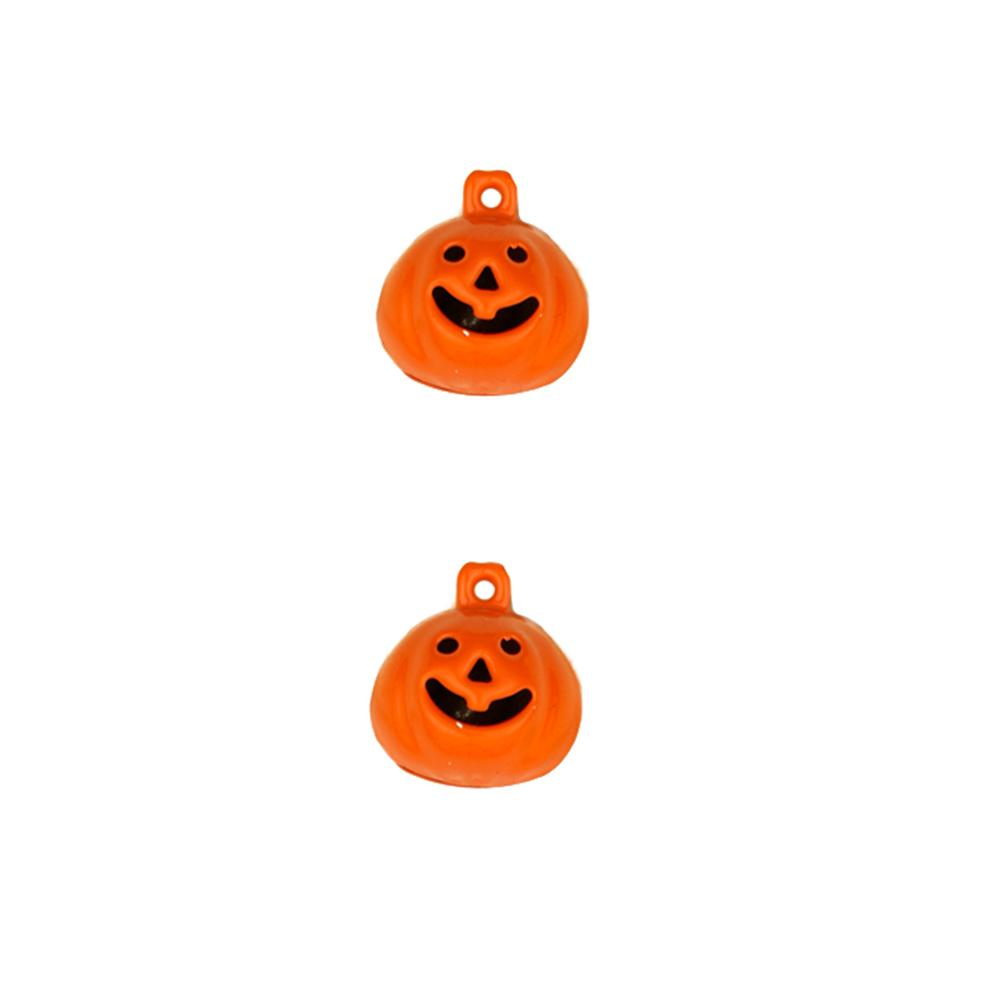 "Novelty Metal Button Pumpkin Bell   5/8"" Orange"