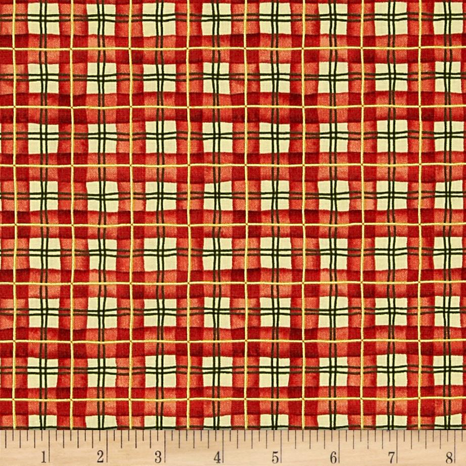 Santa's Journey Plaid Metallic Red
