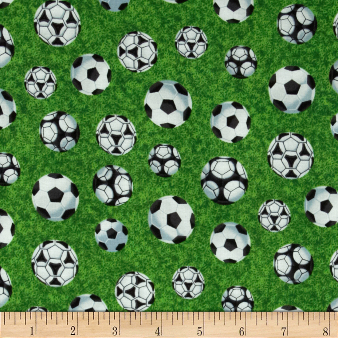 Sports Soccer Balls on Green Multi Fabric