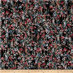 French Designer Rayon Challis Leafy Floral Black/Pink/Blue/Orange