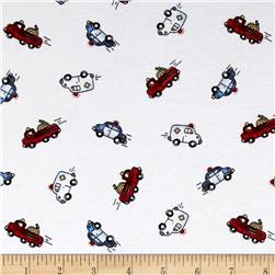 Transportation Cotton Spandex Knit Rescue Cars Print