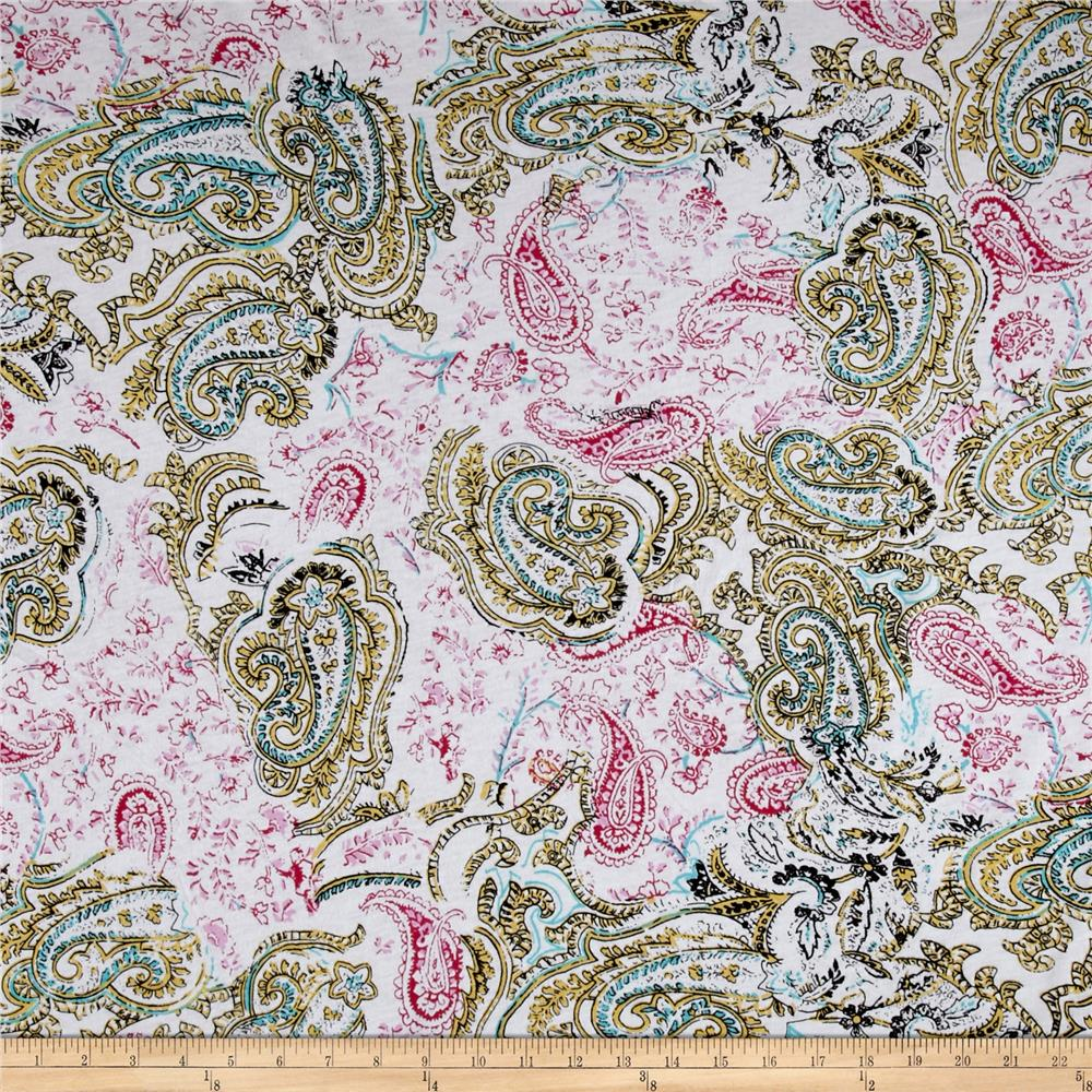 Jersey Knit Paisley Coral/Mint Green