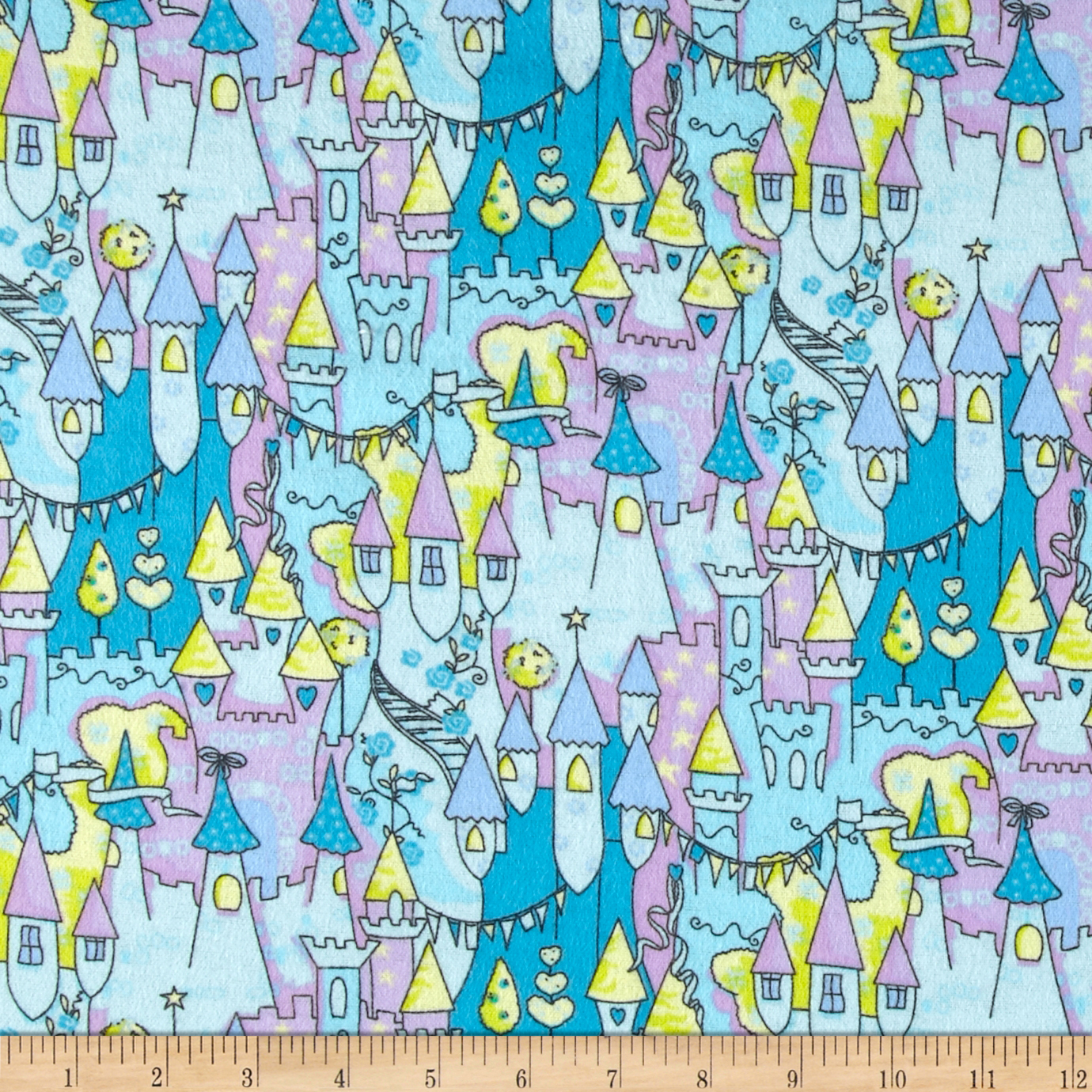 Flannel Prints Castles Sky Fabric by Newcastle in USA