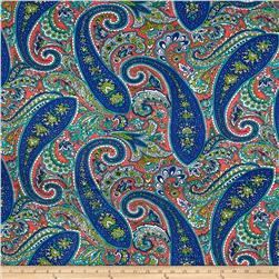 Swim Stretch ITY Jersey Knit Paisley Royal