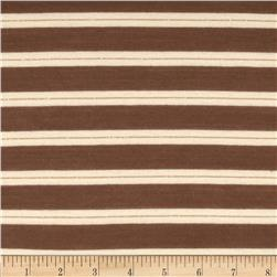 Yarn Dyed Jersey Knit Stripes Brown/Cream/Gold