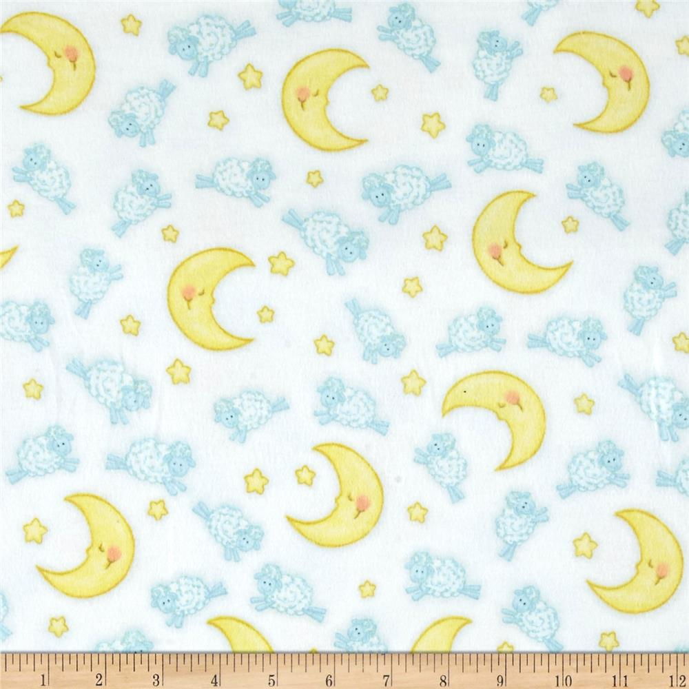 Comfy  Flannel Sheep Over Moon White
