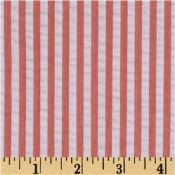Kaufman Breakers Seersucker Stripe Coral Fabric