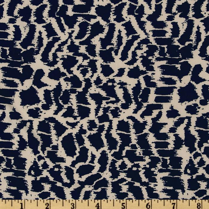 Venice Stretch Jersey Knit Abstract Navy