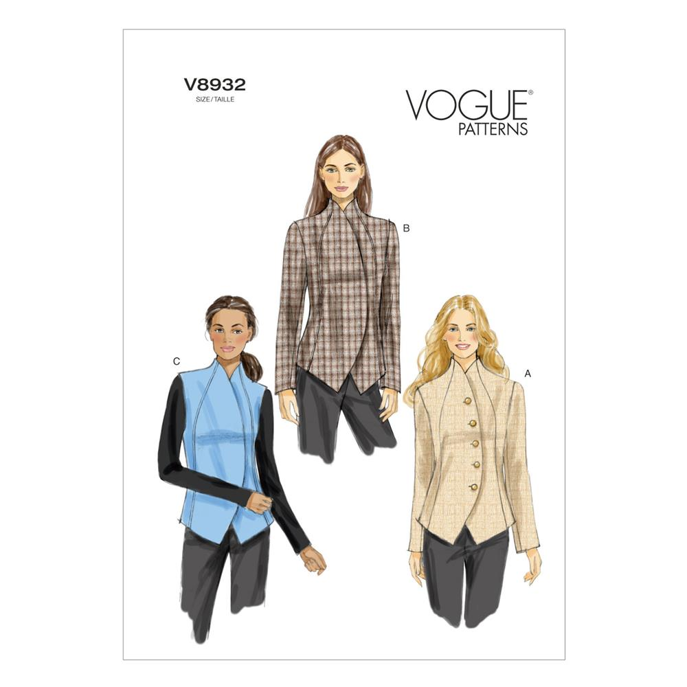 Vogue Misses' Jacket and Vest Pattern V8932 Size AX5