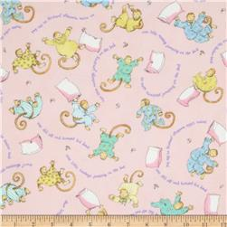 Moda Beddy Bye Flannel Little Monkeys Pink
