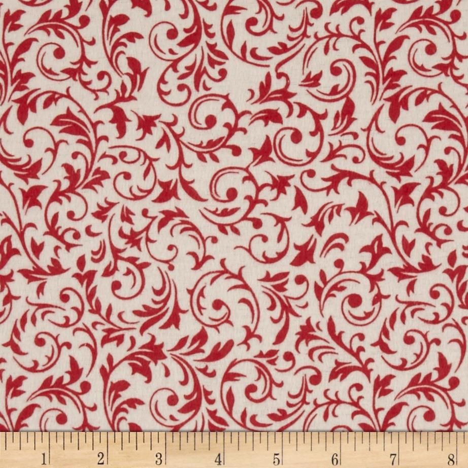 Flannel Tossed Holly Scroll Cream/Red