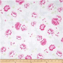 Treasures by Shabby Chic Ballet Rose Large Floral White/Blue