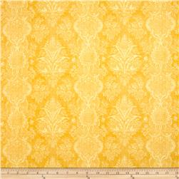 Joyful Blooms Damask Yellow Fabric