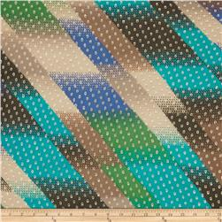 Jacquard Crinkle Silk Chiffon Abstract Blue/Green