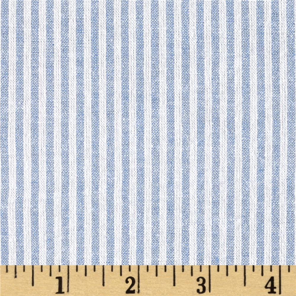 Stretch Seersucker Stripe Light Blue/White