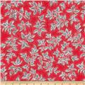 Kaufman Holiday Flourish Metallic Large Leaves Scarlet
