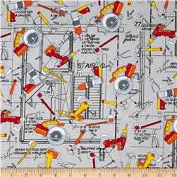 Kanvas Under Construction Power Tools Grey Fabric