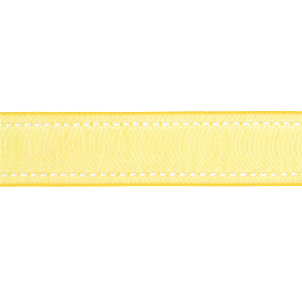 "7/8"" Sheer Stitched Edge Ribbon Yellow"