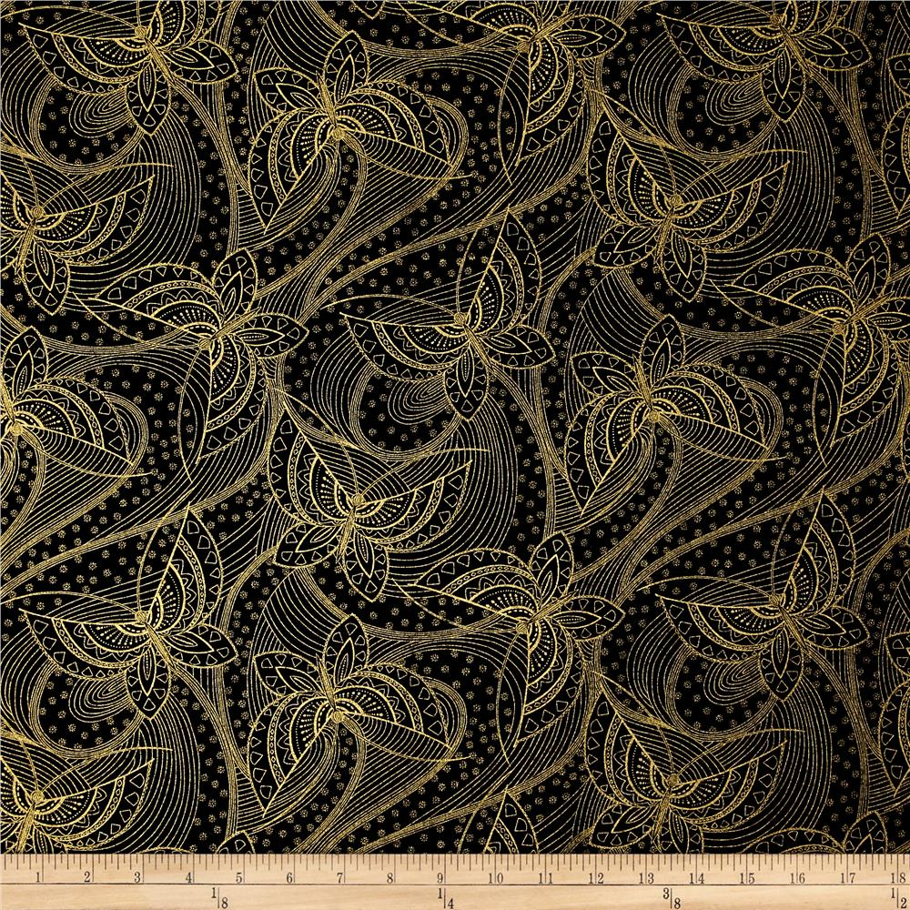 Butterfly fandango metallic gold outline butterfly black for Black fabric