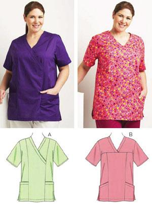 Kwik Sew Scrub Tops Plus Size Pattern
