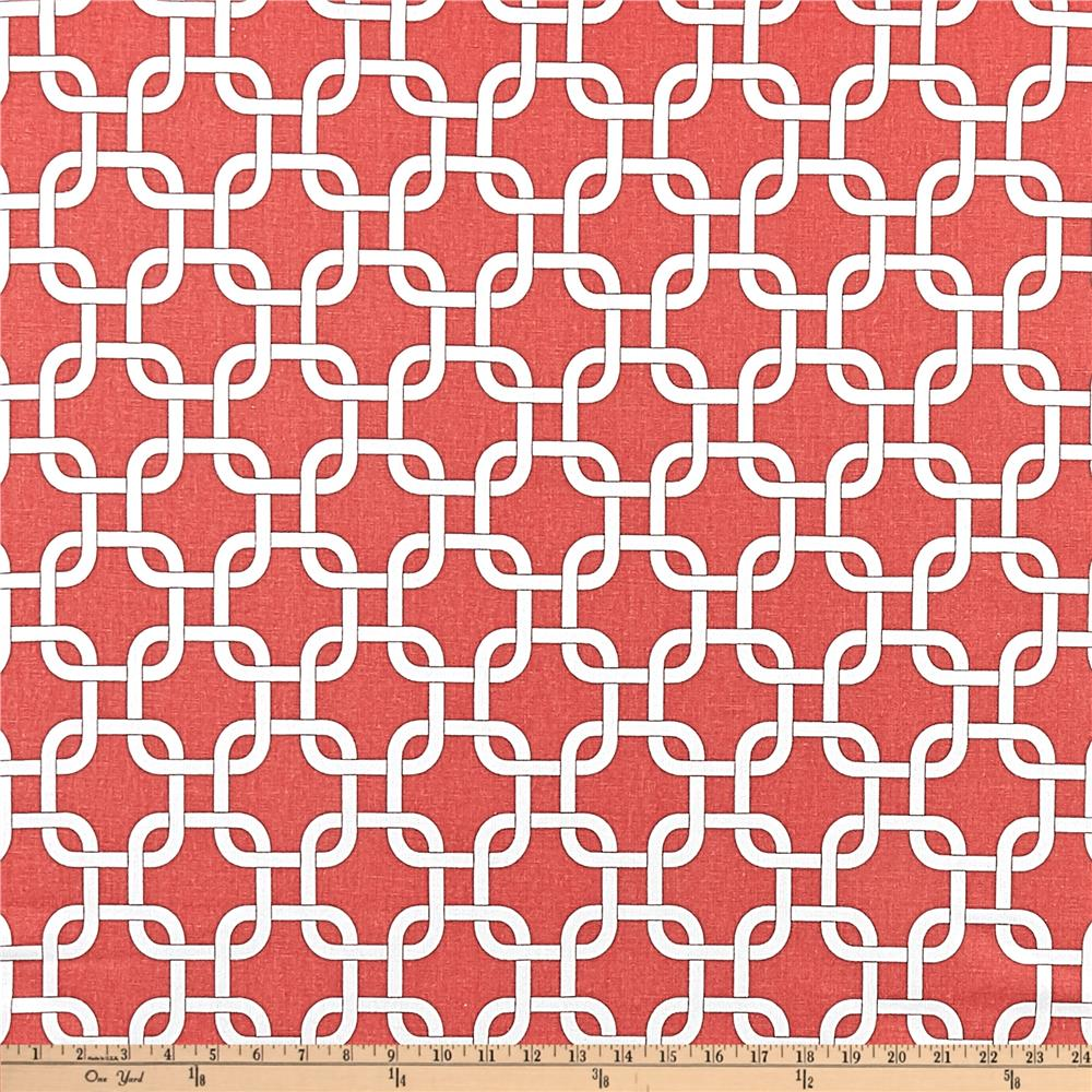 Coral Pattern Fabric premier prints gotcha coral/white - discount designer fabric