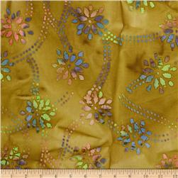 Indian Batik Daisy Trellis Brown/Multi