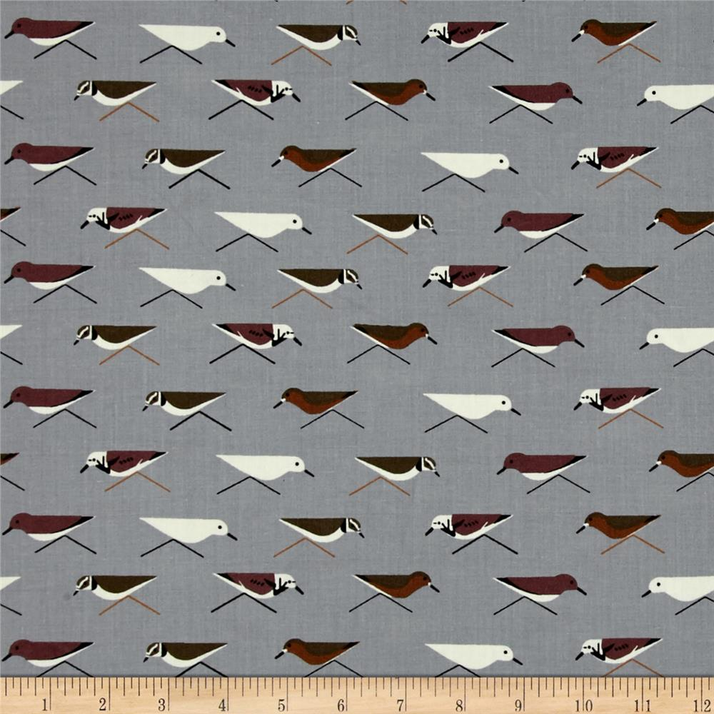 Birch Organic Charley Harper Maritime Sanderlings Grey