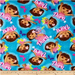 Nickelodeon Dora The Explorer Fleece Aqua Fabric