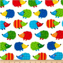 Timeless Treasures Flannel Hedgehogs White